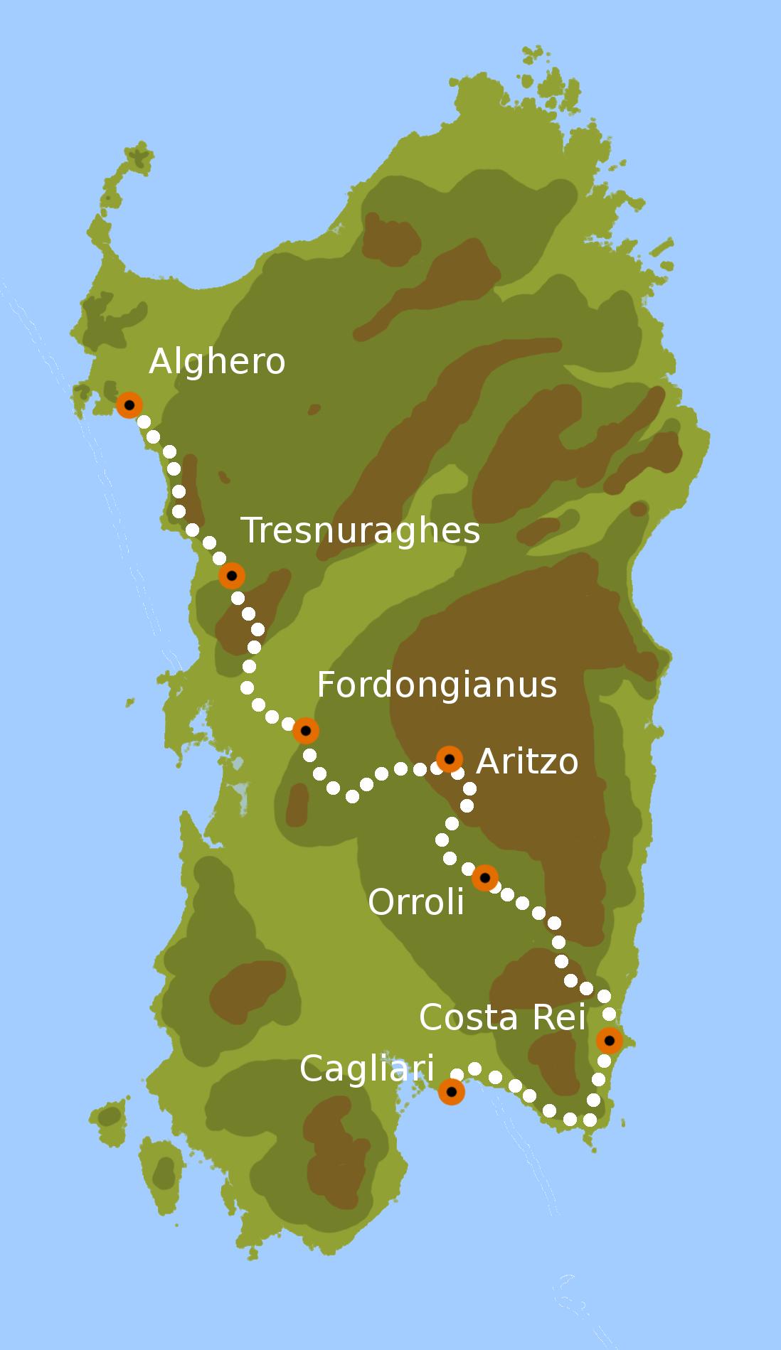 Cartina Sardegna Alghero.From Alghero To Cagliari By Bike West To East